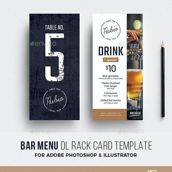 Bar Menu DL Rack Card