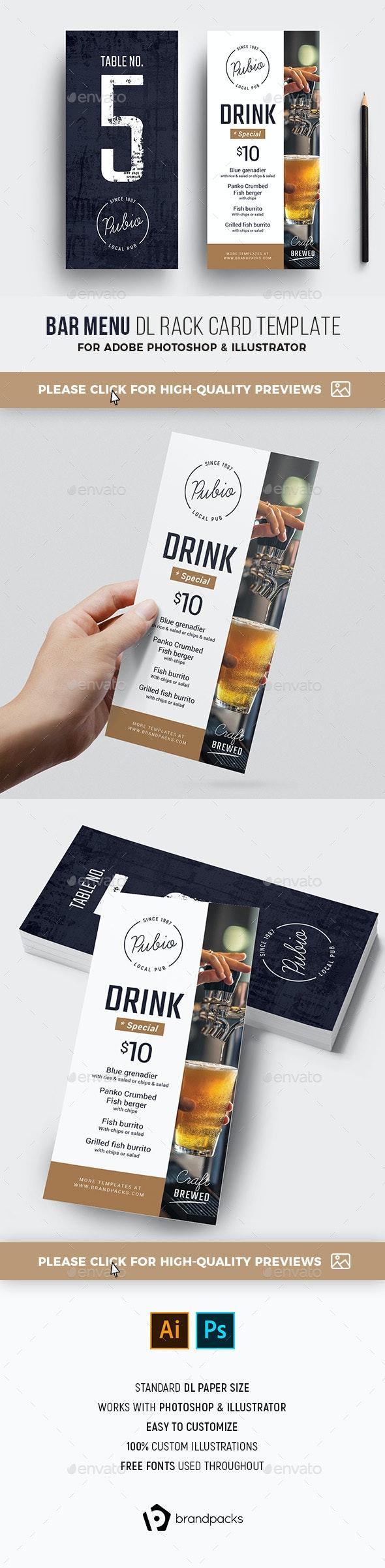 Bar Menu DL Rack Card - Restaurant Flyers