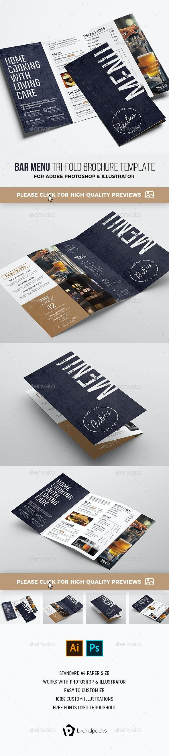 Bar Menu Tri-Fold - Food Menus Print Templates