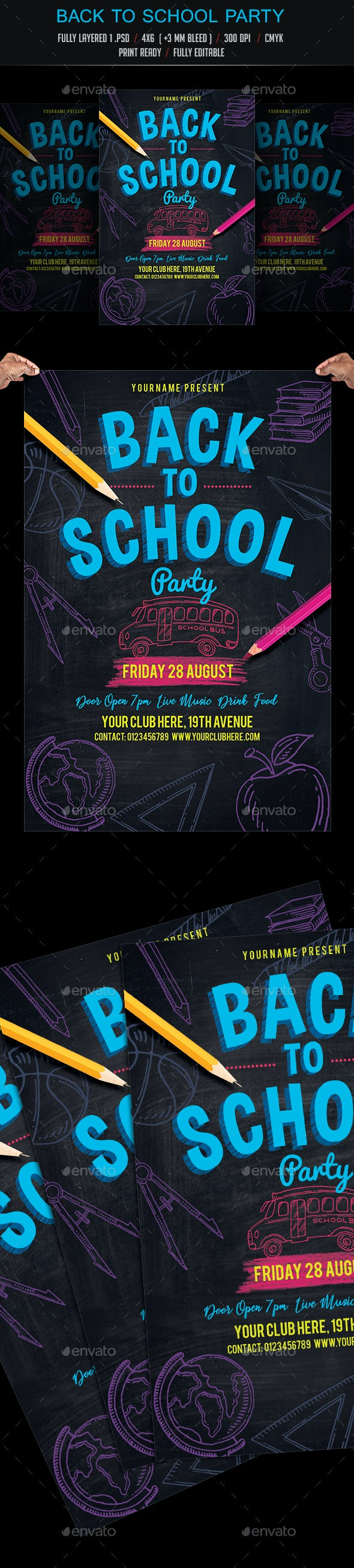 Back to School Party - Events Flyers