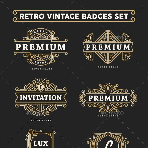 Retro Vintage Badges Set