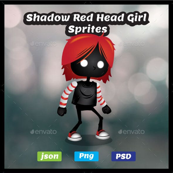 Shadow Red Head Girl Game Asset