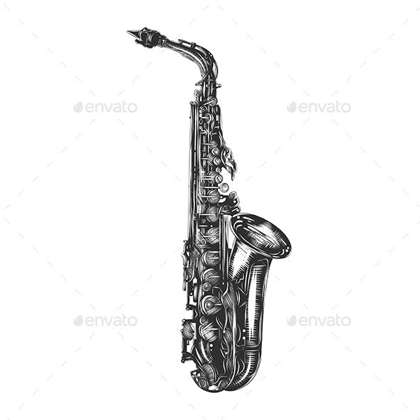 Hand Drawn Sketch Of Saxophone In Monochrome - Man-made Objects Objects