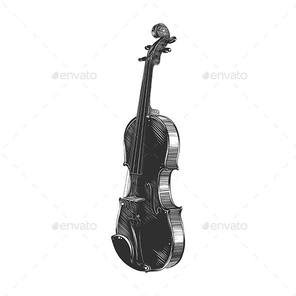 Hand Drawn Sketch of Violin In Monochrome - Man-made Objects Objects
