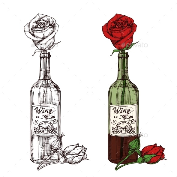 Hand Drawn Sketched Rose in Wine Bottle Vector - Man-made Objects Objects