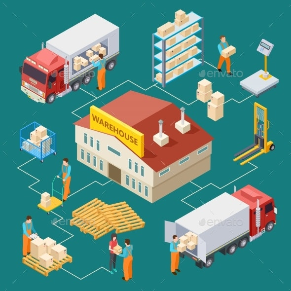 Warehouse Delivery Logistic Isometric Vector - Industries Business