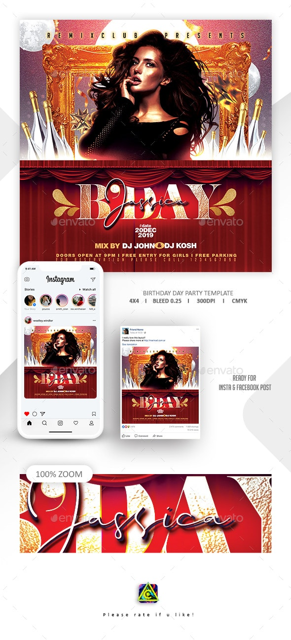 VIP Birthday Flyer Template - Clubs & Parties Events