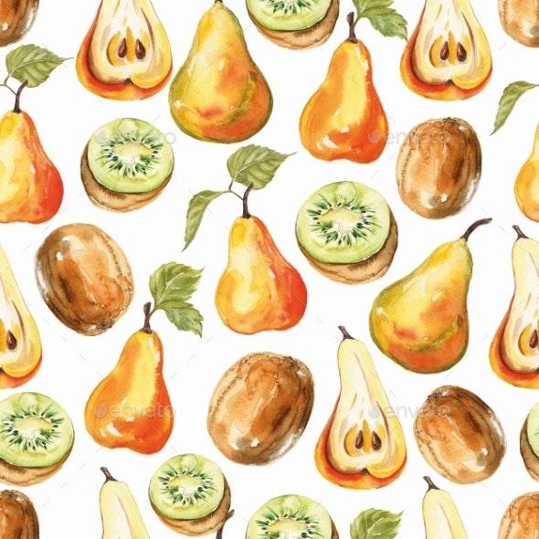 Pear and Kiwi Print Seamless Watercolor Pattern - Patterns Decorative