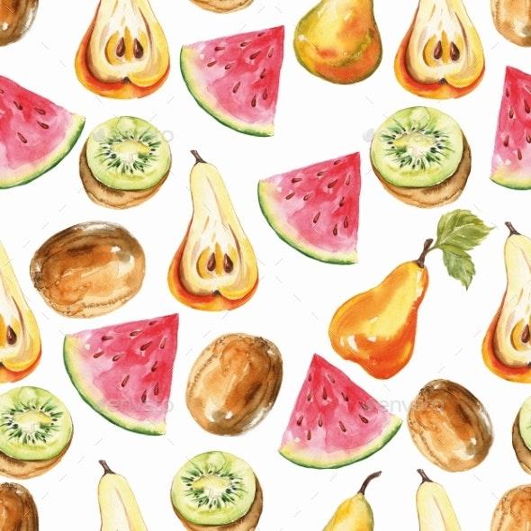 Pear, Kiwi, Watermelon Print. Seamless Watercolor - Patterns Decorative