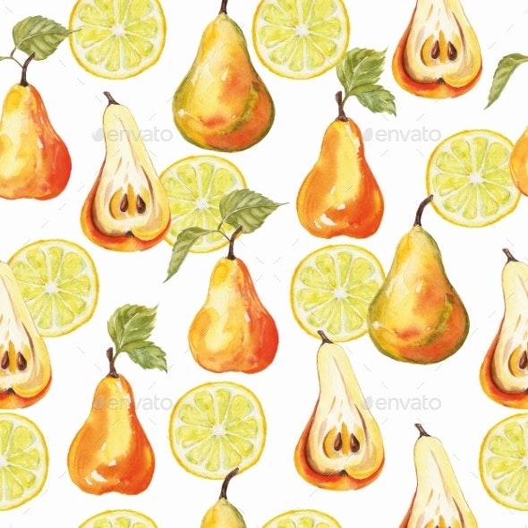 Pear and Lemon Print. Seamless Watercolor Pattern. - Patterns Decorative