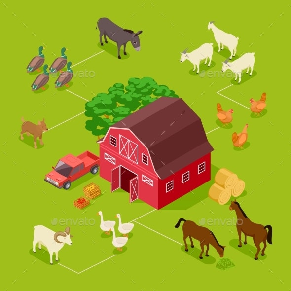 Isometric Farm Vector Concept - Animals Characters