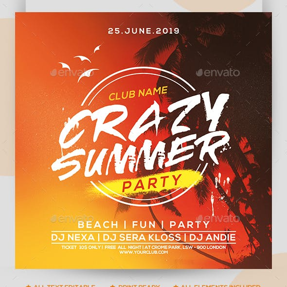 Crazy Summer Party Flyer