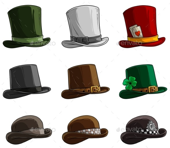 Cartoon Different Caps and Hats Vector Icon Set - Man-made Objects Objects