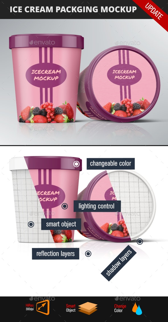 Ice Cream Package Mockup - Food and Drink Packaging