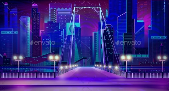 Night City Neon Lights - Buildings Objects