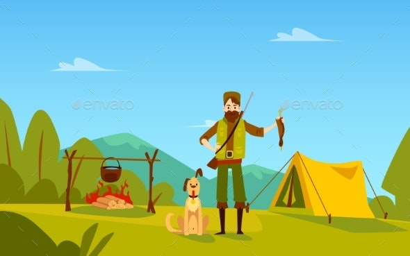 Male Hunter with Dog Stands Near Campfire and Tent - People Characters