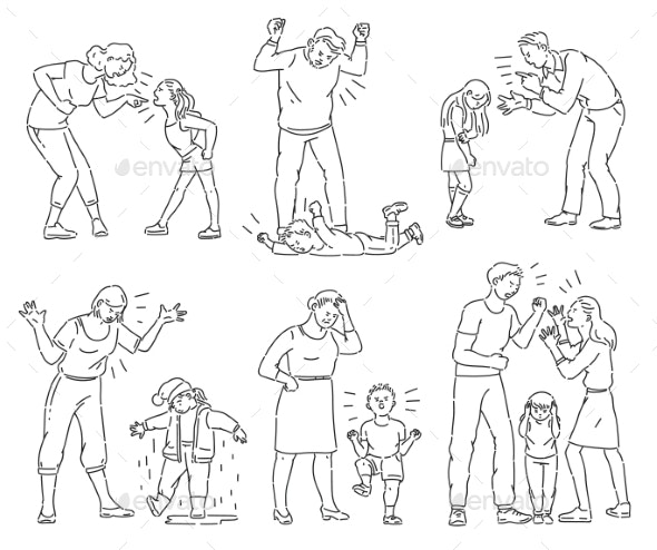 Set of Angry Parents Arguing with Child - People Characters