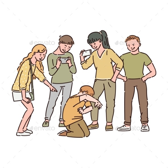 Group of Children or Teenagers Are Bullying a - People Characters
