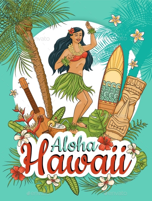 Hawaiian Woman Stand Dancing Hula - People Characters