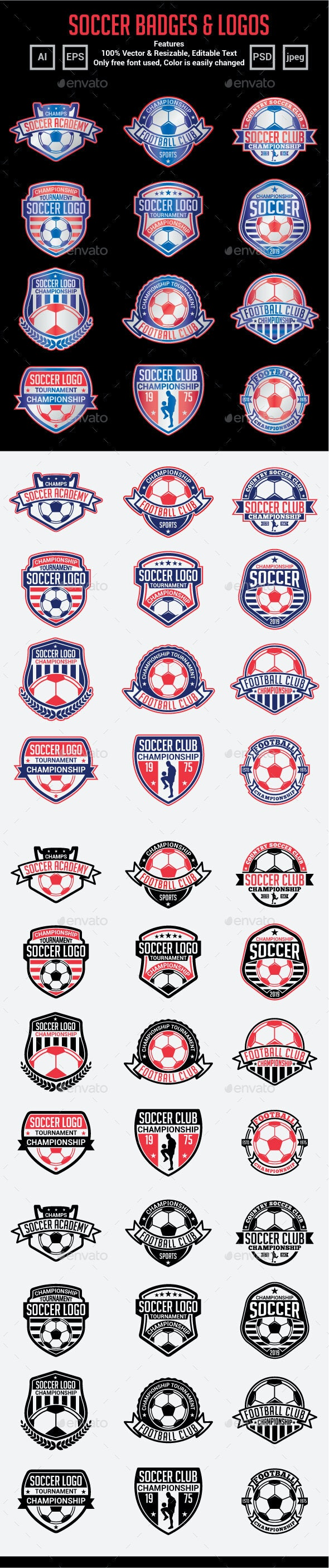 Soccer Badges & Logos - Badges & Stickers Web Elements