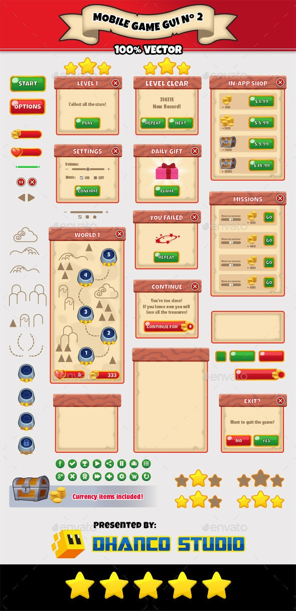 Mobile Game GUI Pack Nº 02 - User Interfaces Game Assets