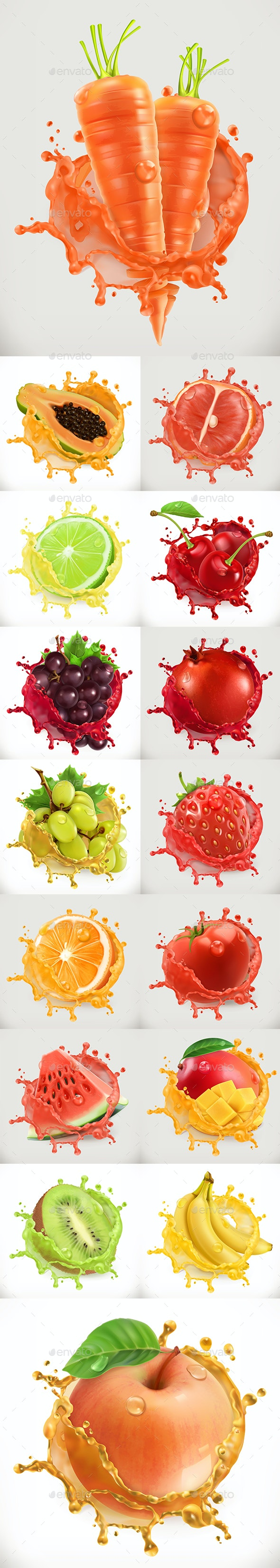 16 Fruits Spray Water Juice - Food Objects