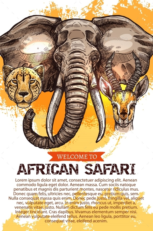 African Safari Hunting Season Club Vector Poster - Animals Characters