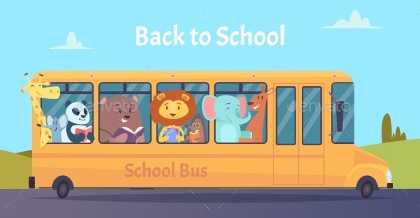 School Bus of Zoo Animals Characters Back To School - Animals Characters