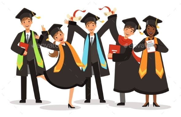 Graduation of Happy International Students Vector - People Characters