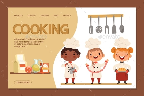 Kid Chefs - Cooking Landing Page Banner - People Characters