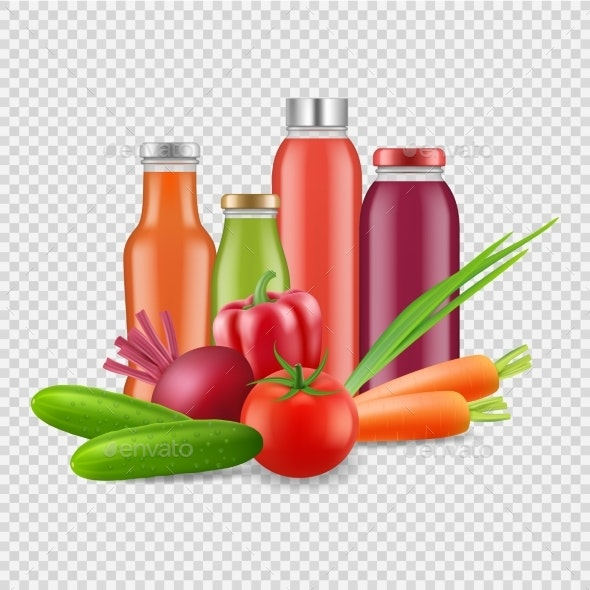 Fresh Juices Isolated on Transparent Background - Food Objects