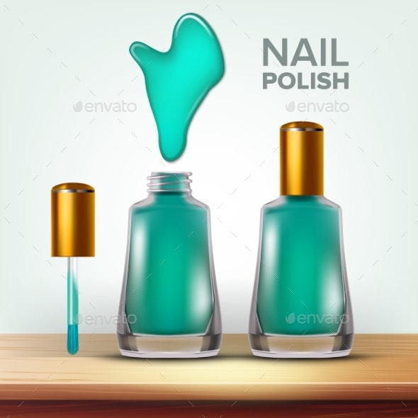 Bottle of Green Nail Polish Female Cosmetic Vector - Man-made Objects Objects