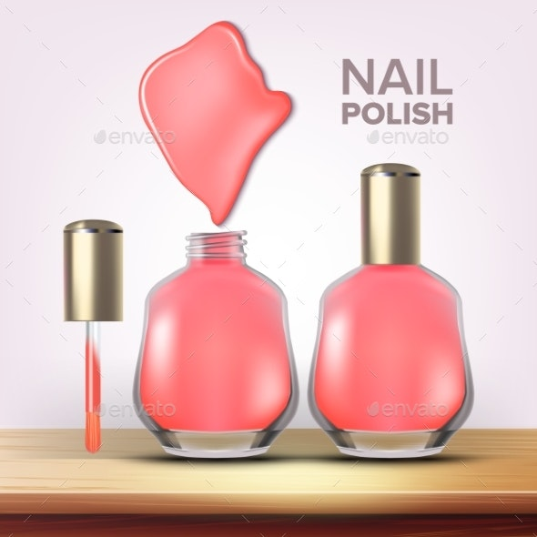 Bottle of Pink Nail Polish Female Cosmetic Vector - Man-made Objects Objects