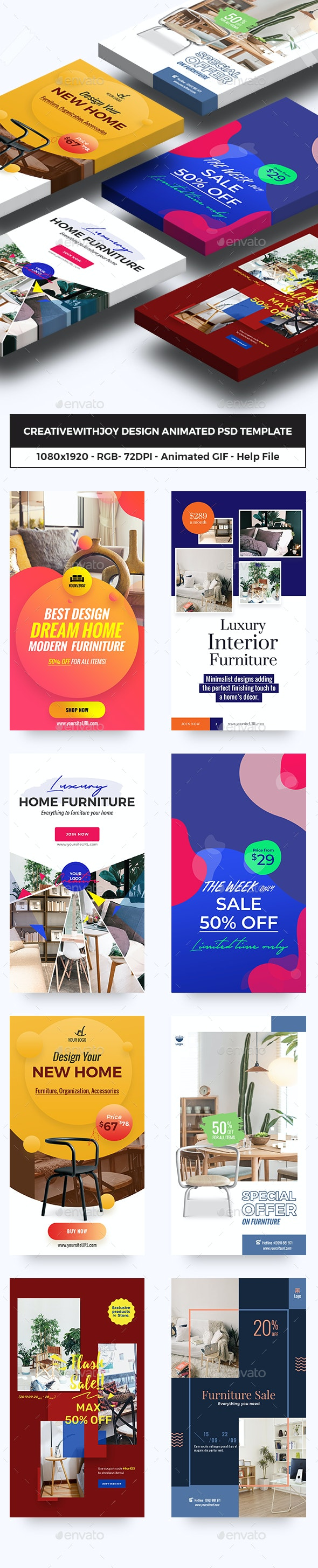 Furniture, Decor Animated GIFs Instagram Stories - Social Media Web Elements