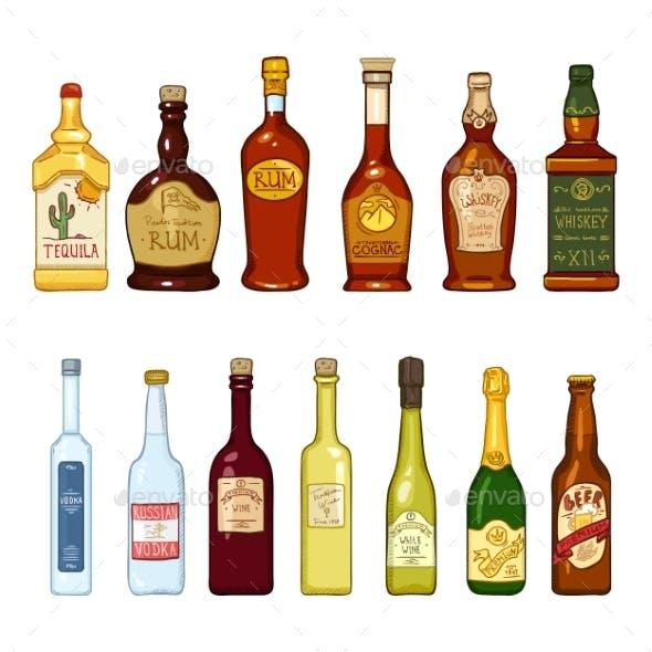 Vector Set of Cartoon Alcohol Drinks Glass Bottles