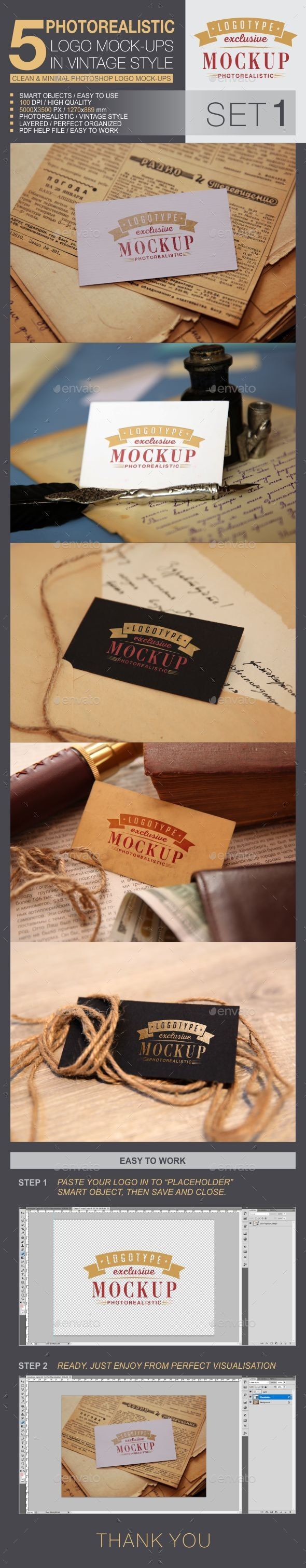 5 Logo Mock-Ups In Vintage Style - Logo Product Mock-Ups