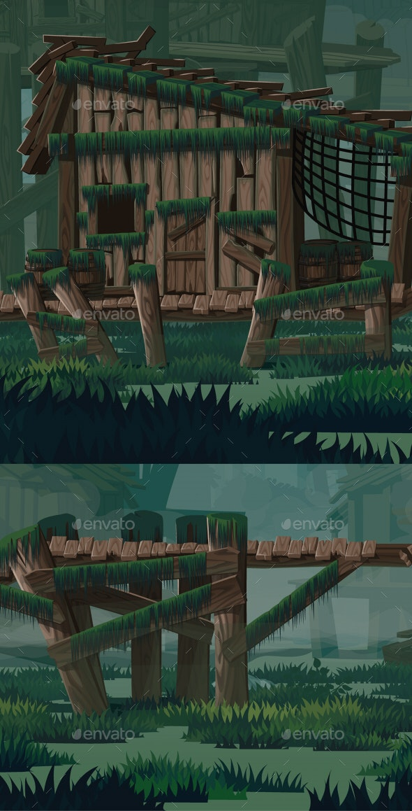 Swamp City Location - Backgrounds Game Assets