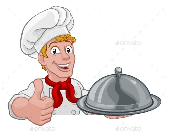 Chef Holding Plate Platter Sign Cartoon - People Characters