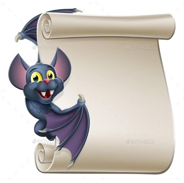 Halloween Vampire Bat Cartoon Character Scroll - Halloween Seasons/Holidays
