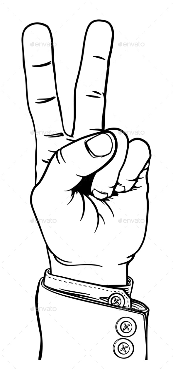 Peace Victory Hand Two Finger Sign - Miscellaneous Vectors