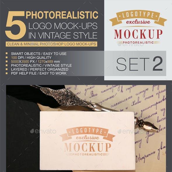 5 Logo Mock-Ups In Vintage Style Set 2
