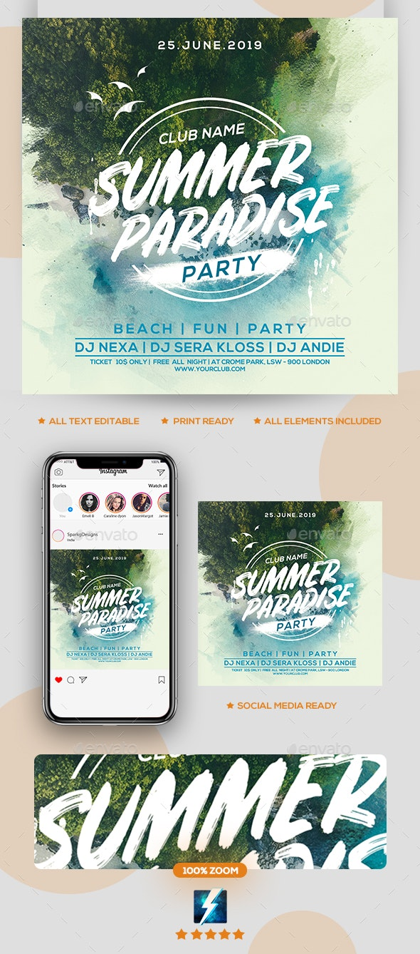 Summer Paradise Party Flyer - Clubs & Parties Events
