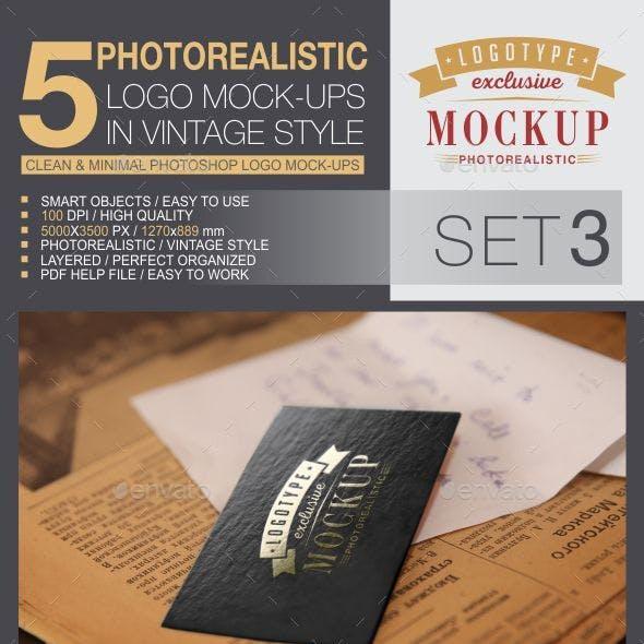 5 Logo Mock-Ups In Vintage Style - Set 3