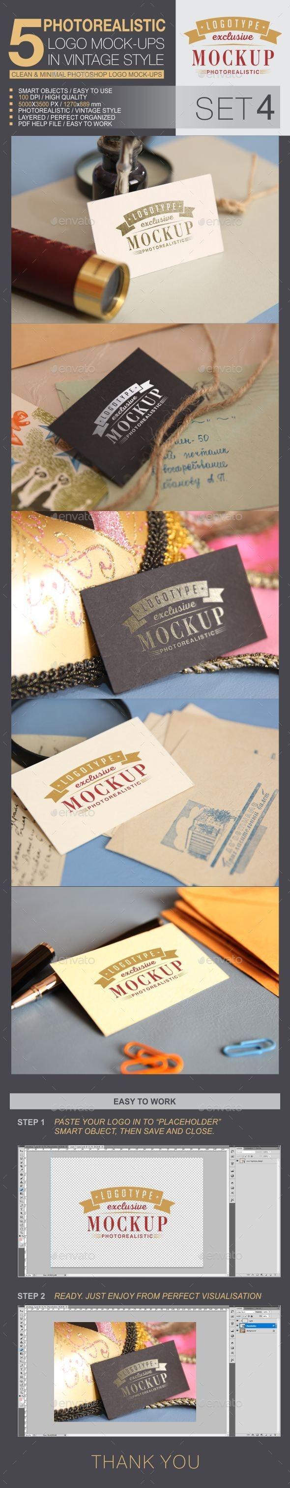 5 Logo Mock-Ups In Vintage Style - Set 4 - Logo Product Mock-Ups
