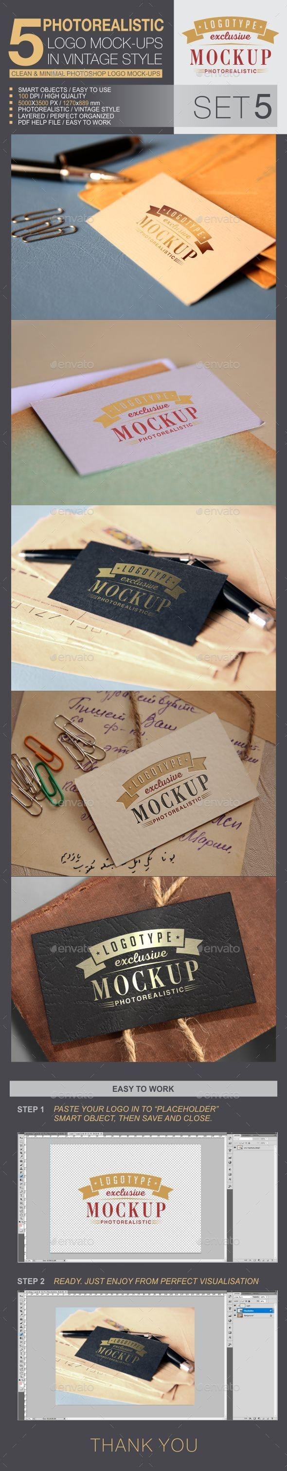 5 Logo Mock-Ups In Vintage Style - Set 5 - Logo Product Mock-Ups