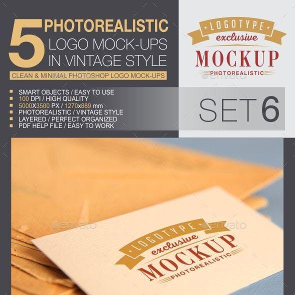 5 Logo Mock-Ups In Vintage Style - Set 6