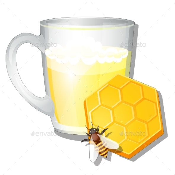 Glass Mug of Milk and Honey Isolated on White - Food Objects