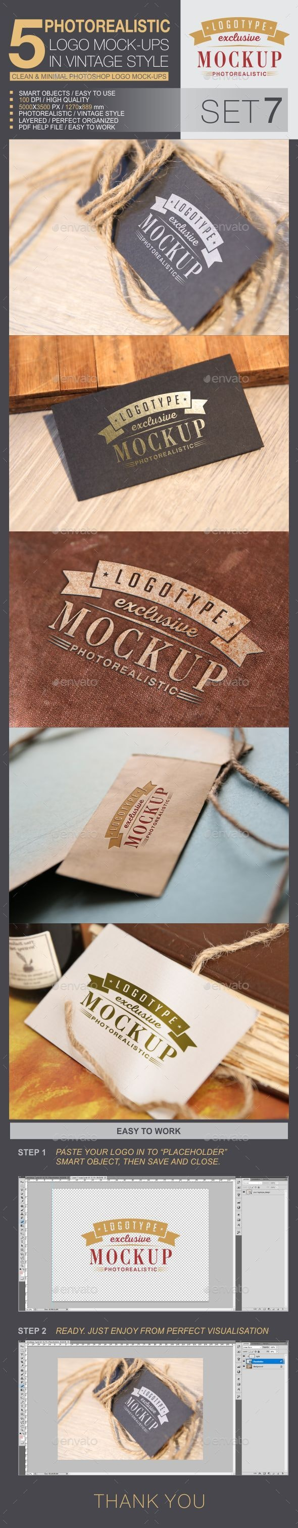 5 Logo Mock-Ups In Vintage Style - Set 7 - Logo Product Mock-Ups
