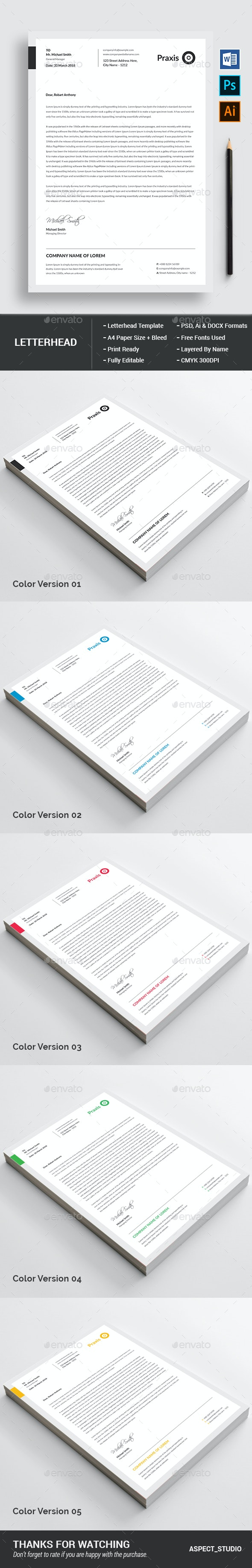 Clean Letterhead Template - Stationery Print Templates