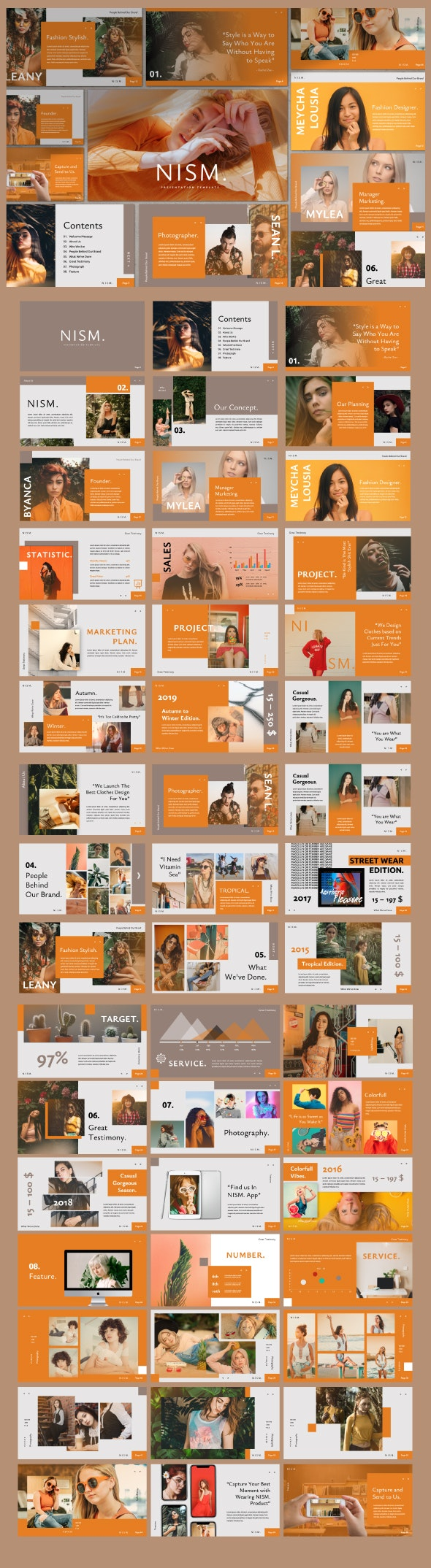 Nism. Brand Sheet Powerpoint - Creative PowerPoint Templates